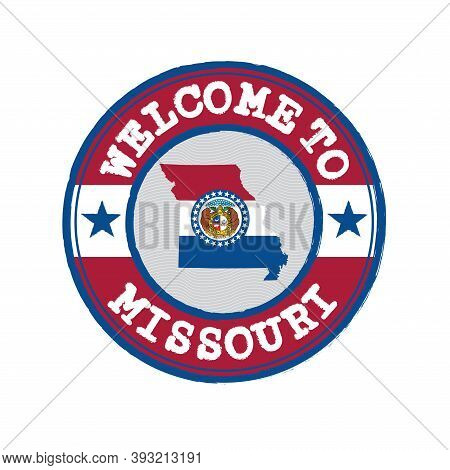 Vector Stamp Of Welcome To Missouri With Map Outline Of The States In Center. The States Of America.