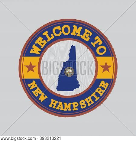 Vector Stamp Of Welcome To New Hampshire With Map Outline Of The States In Center. The States Of Ame