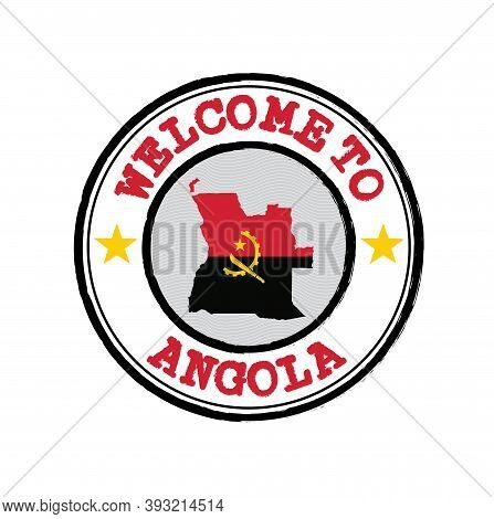 Vector Stamp Of Welcome To Angola With Map Outline Of The Nation In Center. Grunge Rubber Texture St