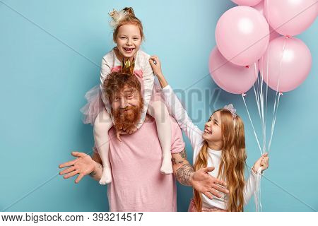 Two Funny Naughty Sisters Play Together, Tickle Each Other Being Cared By Dad. Cute Little Girl Hold