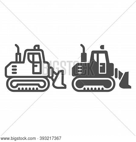 Excavator With Scoop Line And Solid Icon, Heavy Equipment Concept, Earth Heavy Digger Sign On White
