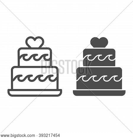 Two Tiered Cake With Heart Line And Solid Icon, Birthday Cupcake Concept, Wedding Cake Sign On White