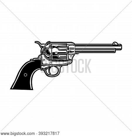 Old Revolver Vector Illustration. Monochrome Vintage Gun, Handgun, Pistol. Western Or Weapon Concept