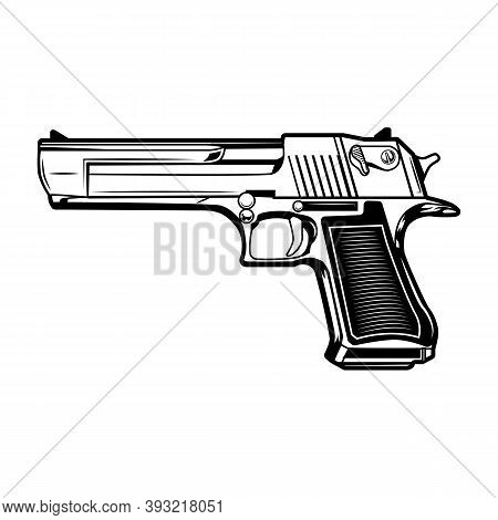 Pistol Vector Illustration. Monochrome Gun, Handgun, Service Sidearm. Firearm Or Duty Gun Concept Fo