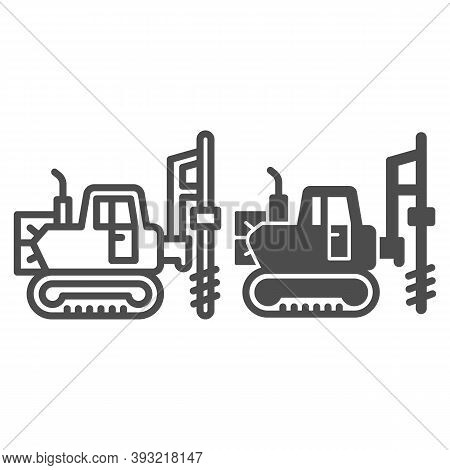 Large Excavator With Drill Line And Solid Icon, Heavy Equipment Concept, Excavator With Hydraulic Ha