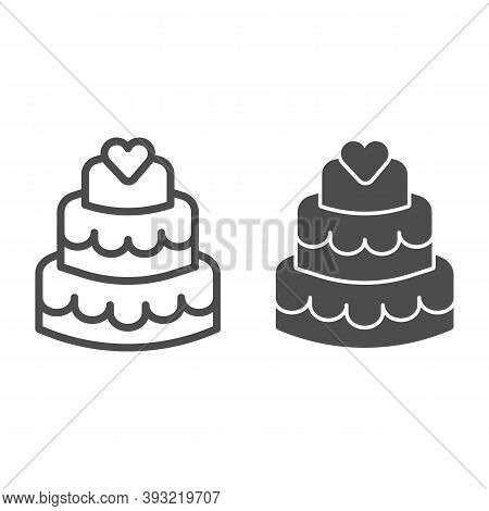 Three Tiered Cake Line And Solid Icon, Birthday Cupcake Concept, Sweet Dessert Sign On White Backgro