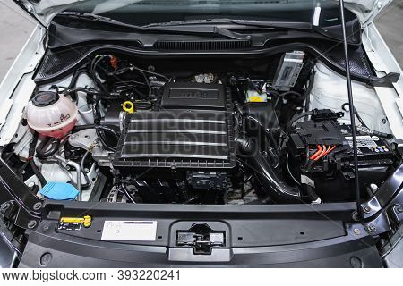 Novosibirsk, Russia - October 25, 2020: Volkswagen Polo,  Close Up Detail Of  Car Engine, Front View