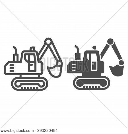 Crawler Excavator Line And Solid Icon, Heavy Equipment Concept, Hydraulic Excavator Truck Sign On Wh