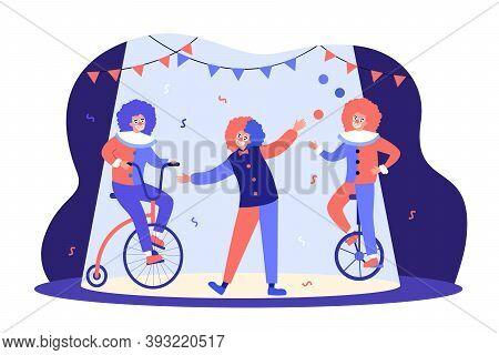Clowns Performing On Circus Arena, Riding Bike, Juggler Balancing On Monocycle. Vector Illustration
