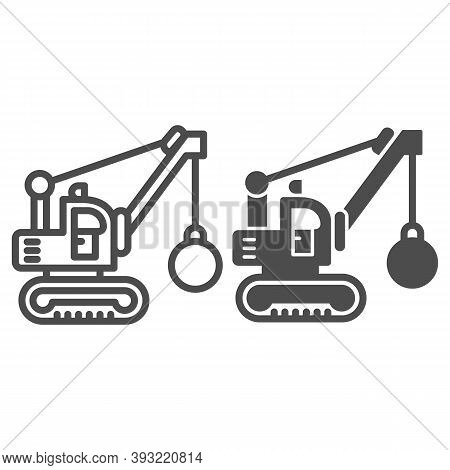 Excavator With Ball To Destroy Buildings Line And Solid Icon, Heavy Equipment Concept, Crane With Wr