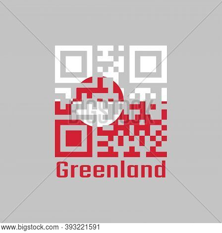 Qr Code Set The Color Of Greenland Flag. A Horizontal Bicolor Of White And Red, With A Counterchange