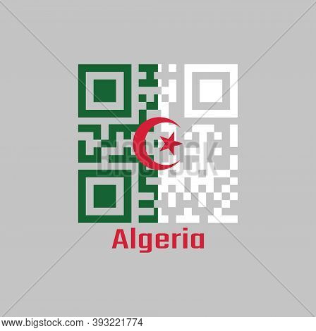 Qr Code Set The Color Of Algeria Flag, It Is Consists Of Two Equal Vertical Bars, Green And White, C