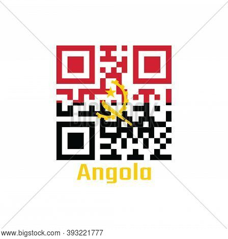 Qr Code Set The Color Of Angola Flag. Two Horizontal Bands Of Red And Black With The Machete And Gea