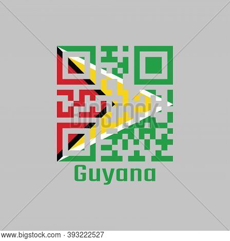 Qr Code Set The Color Of Guyana Flag. A Green Field With The Black Red Triangle And White Golden Tri