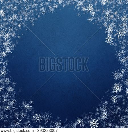 blue winter christmas background with snowflakes
