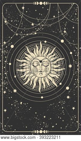 Mystical Drawing Of The Sun With A Face, Tarot Cards, Boho Illustration, Magic Card. Golden Sun With