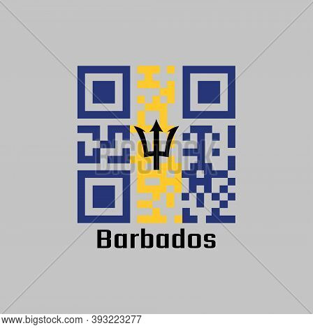 Qr Code Set The Color Of Barbados Flag, A Vertical Triband Of Ultramarine (hoist-side And Fly-side)
