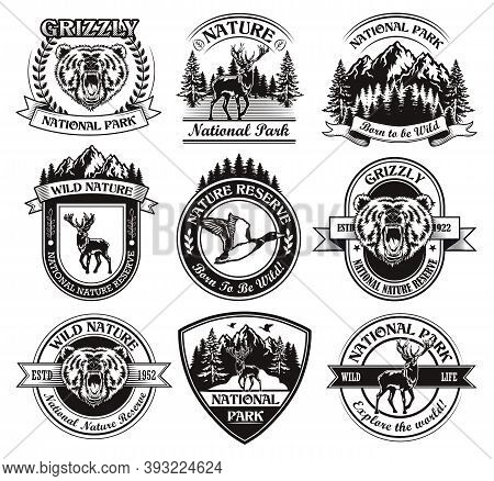 Monochrome National Park Emblems Vector Illustration Set. Vintage Signs Or Sticker With Animals And