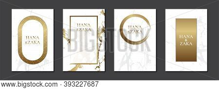 White Wedding Invitation Card Marble Texture And Gold Frame