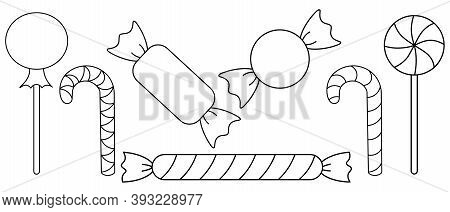 Candy. Sketch. Vector Icon Collection. Coloring Book For Children. Outline On An Isolated Background