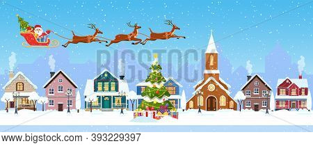 Happy New Year And Merry Christmas Winter Old Town Street. Christmas Town City Seamless Border Panor