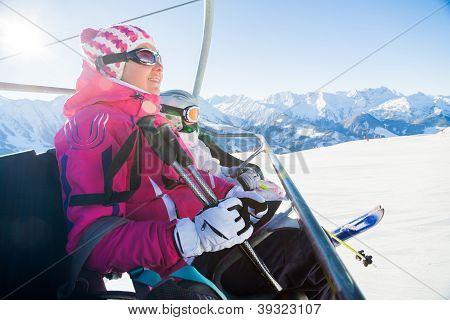 Skiers on a ski-lift