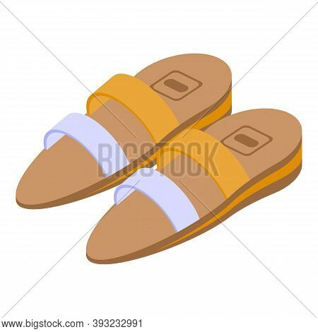 Woman Sandals Icon. Isometric Of Woman Sandals Vector Icon For Web Design Isolated On White Backgrou