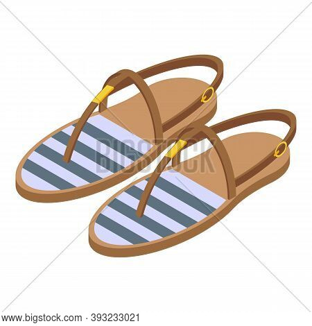 Beach Sandals Icon. Isometric Of Beach Sandals Vector Icon For Web Design Isolated On White Backgrou