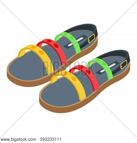 Colorful Sandals Icon. Isometric Of Colorful Sandals Vector Icon For Web Design Isolated On White Ba