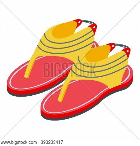 Rubber Red Sandals Icon. Isometric Of Rubber Red Sandals Vector Icon For Web Design Isolated On Whit