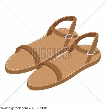 Mother Leather Sandals Icon. Isometric Of Mother Leather Sandals Vector Icon For Web Design Isolated