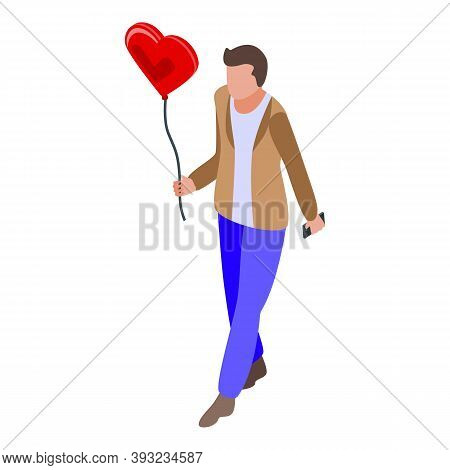 Online Dating Boy With Balloon Icon. Isometric Of Online Dating Boy With Balloon Vector Icon For Web