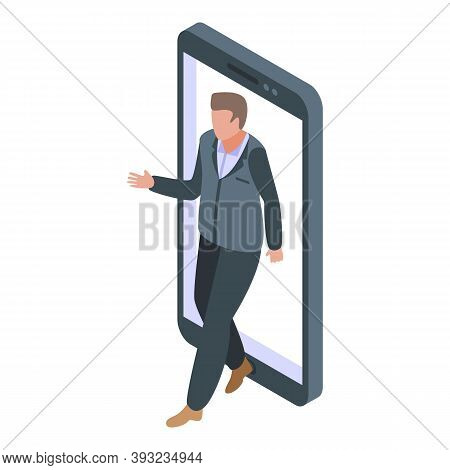 Man Online Dating Icon. Isometric Of Man Online Dating Vector Icon For Web Design Isolated On White