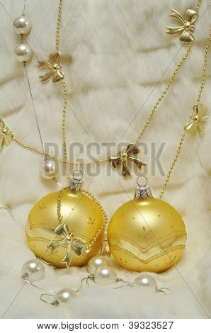 Christmas Decoration - Two Golden Balls On White Fur, Bows, Pearls