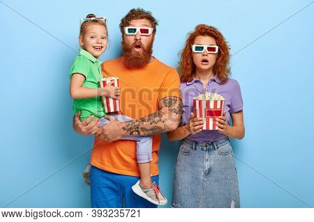 Friendly Family Of Mum, Dad And Child Visit Film Festival In Cinema, Watch Psychological Thriller Or