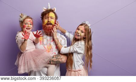 Emotive Single Father Spends Free Time With Daughters, Paint Faces, Use Watercolors, Two Kids Have J