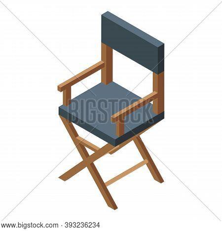Cinema Director Chair Icon. Isometric Of Cinema Director Chair Vector Icon For Web Design Isolated O