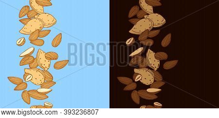 Vertical Seamless Pattern Of Almond Kernels, For Menu Design Or Confectionery, Textiles, Vector Illu
