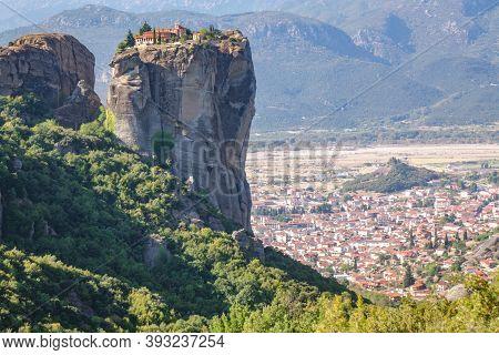 Meteora Monasteries On Mountain Rocks, Holy Trinity Monastery, Greece