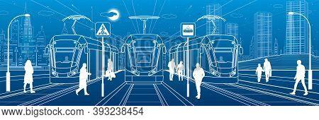 Electric Transport Illustration. City Scene, People Walk Down The Street, Passengers Leave Tram, Nig
