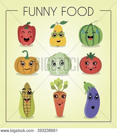I Love Vegetables. Funny Cartoon Character. Vector Illustration. A Set Of Flat Vegetables And Fruits