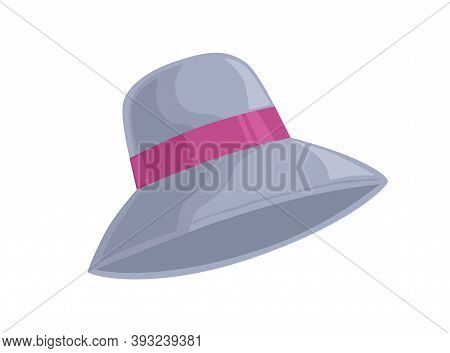 Women Cloche Hat With Pink Ribbon Isolated On White Background. Elegant Fashionable Headwear Made Of