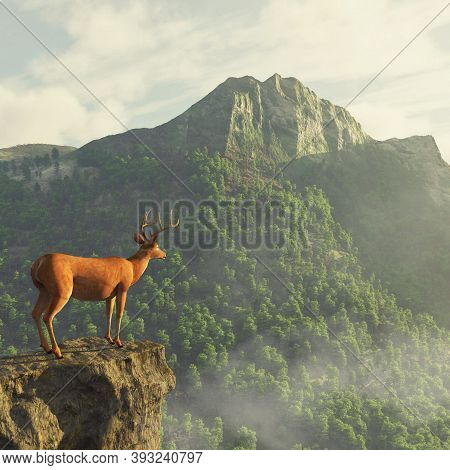Deer On Top Of A Peak Looking At A Big Mountain . This Is A 3d Render Illustration .