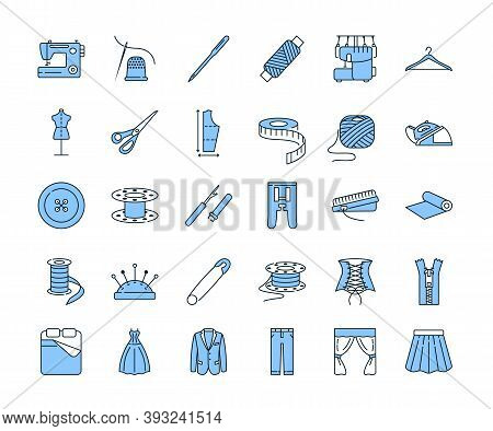 Sewing Equipment And Needlework Line Icon Set Blue Color. Equipment For A Sewing Studio. Custom Clot