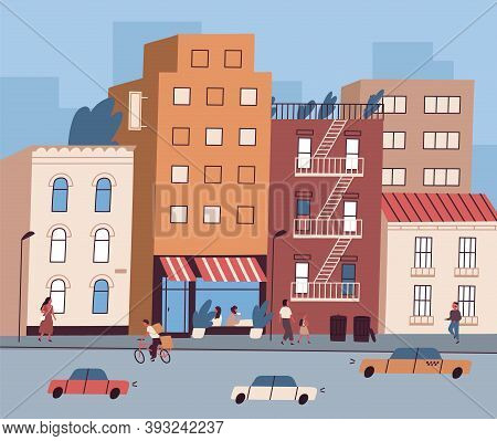 City Street With Tiny People Walking And Sitting In Cafe And Cars On The Road. Cityscape With Reside
