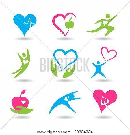 Nine icons symbolizing healthy hearts.