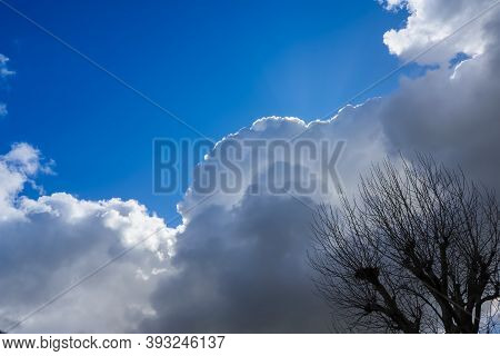 Stormy Weather Approaching With Cumulonimbus Clouds Bringing Thunder Storms