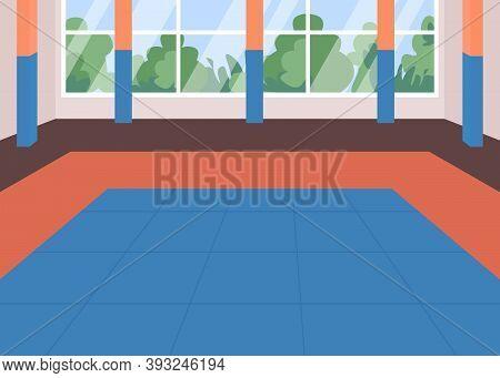 Martial Arts Dojo Flat Color Vector Illustration. Karate School Class. Place For Sport Exercise. Emp