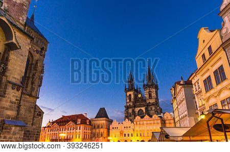 Prague Old Town Square Stare Mesto Historical City Centre With Astronomical Clock Orloj Of City Hall