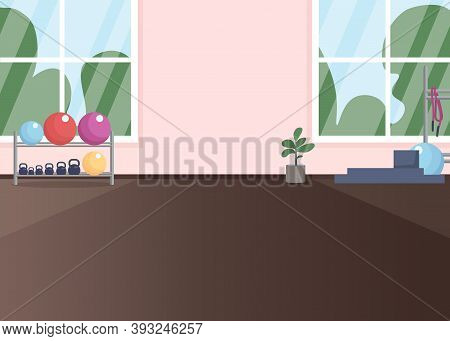Gym Room Flat Color Vector Illustration. Place For Exercising. Dumbbells For Weightlifting. Healthy